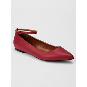 Brand new Gap red pointy toe flats w/ Ankle Strap
